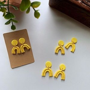 Accessories - Polymer Clay Earrings - YELLOW ARCHES